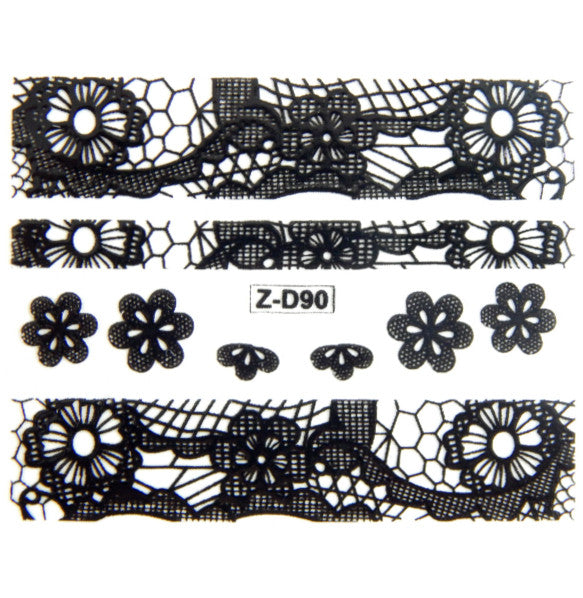 Lace Nail Adhesive Sticker / Black / D90