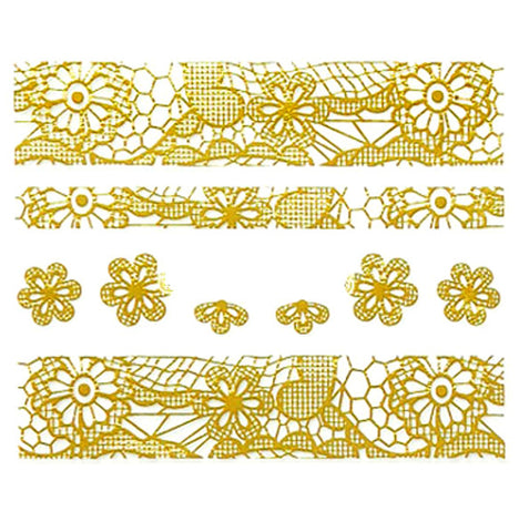 Lace Nail Adhesive Sticker / Gold / D90