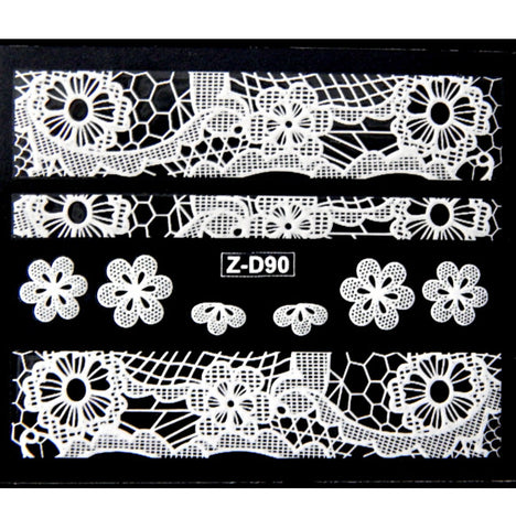 Lace Nail Adhesive Sticker / White / D90