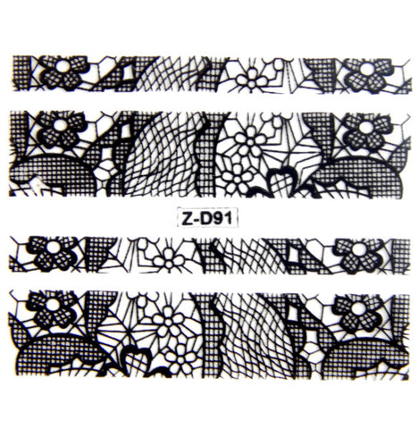 Lace Nail Adhesive Sticker / Black / D91