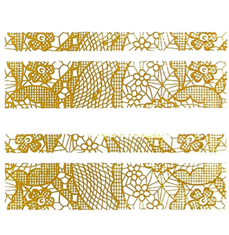 Lace Nail Adhesive Sticker / Gold / D91