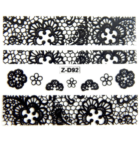 Lace Nail Adhesive Sticker / Black / D92