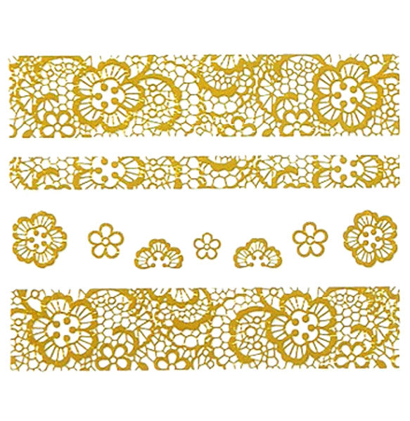 Lace Nail Adhesive Sticker / Gold / D92