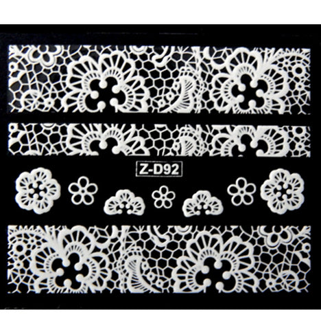 Lace Nail Adhesive Sticker / White / D92