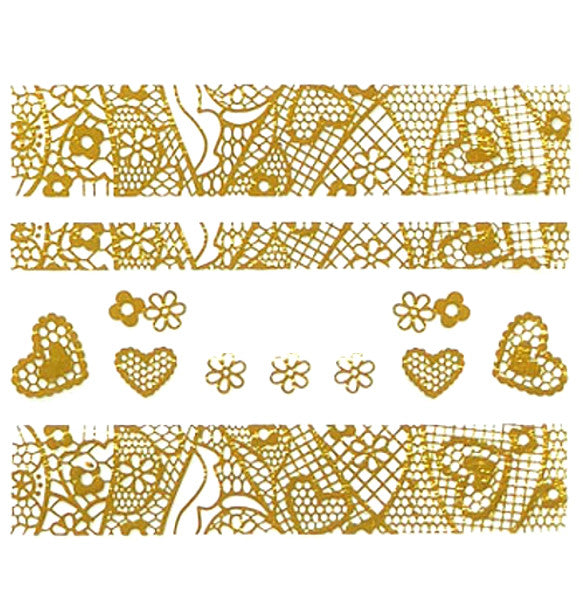 Lace Nail Adhesive Sticker / Gold / D93