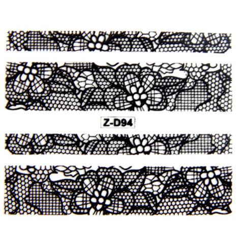 Lace Nail Adhesive Sticker / Black / D94