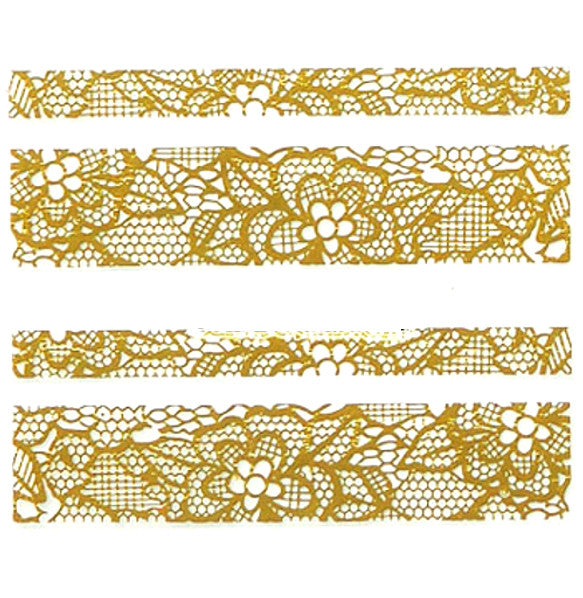 Lace Nail Adhesive Sticker / Gold / D94