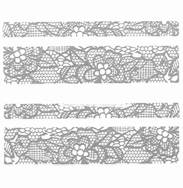Lace Nail Adhesive Sticker / Silver / D94