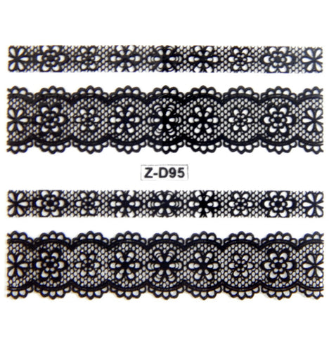 Lace Nail Adhesive Sticker / Black / D95