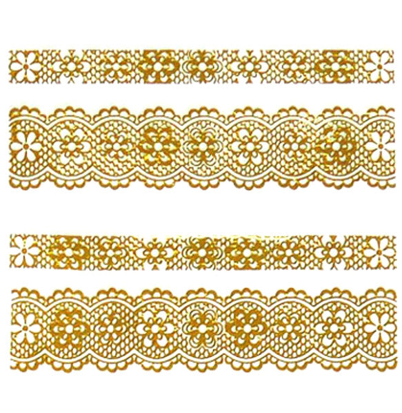 Lace Nail Adhesive Sticker / Gold / D95