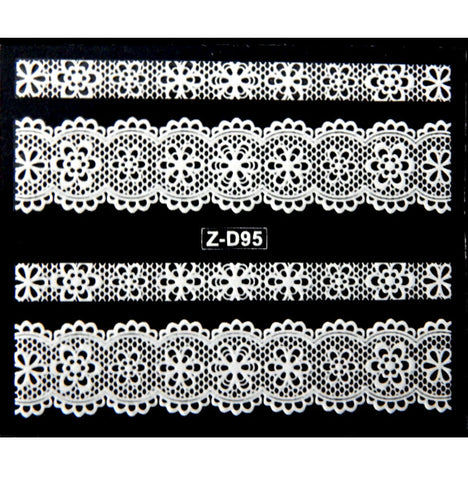 Lace Nail Adhesive Sticker / White / D95