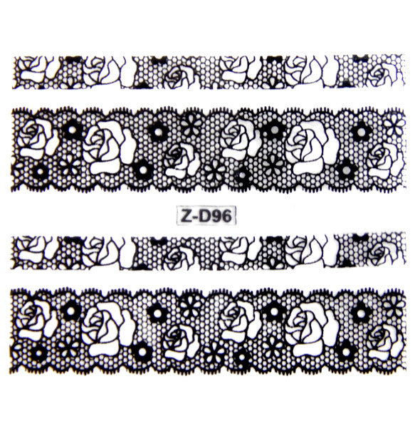 Lace Nail Adhesive Sticker / Black / D96