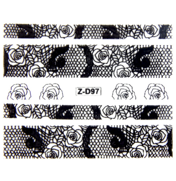 Lace Nail Adhesive Sticker / Black / D97