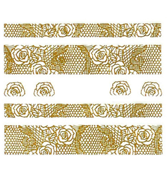 Lace Nail Adhesive Sticker / Gold / D97