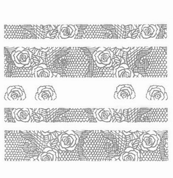 Lace Nail Adhesive Sticker / Silver / D97