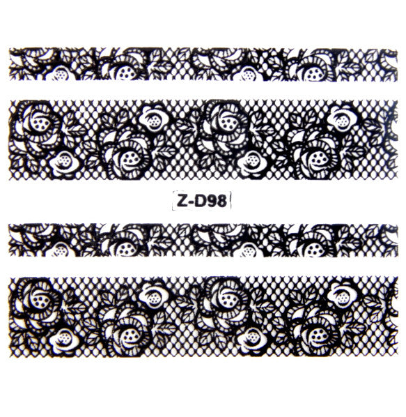 Lace Nail Adhesive Sticker / Black / D98