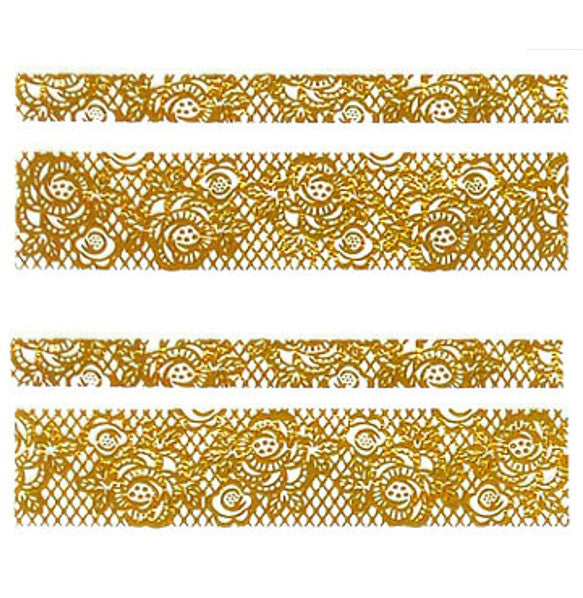 Lace Nail Adhesive Sticker / Gold / D98