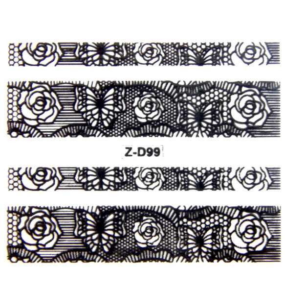 Lace Nail Adhesive Sticker / Black / D99