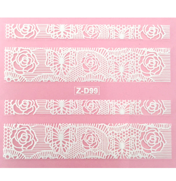 Lace Nail Adhesive Sticker / White / D99