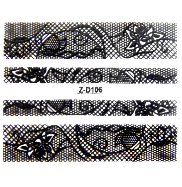 Nail Adhesive Sticker / Black / D106