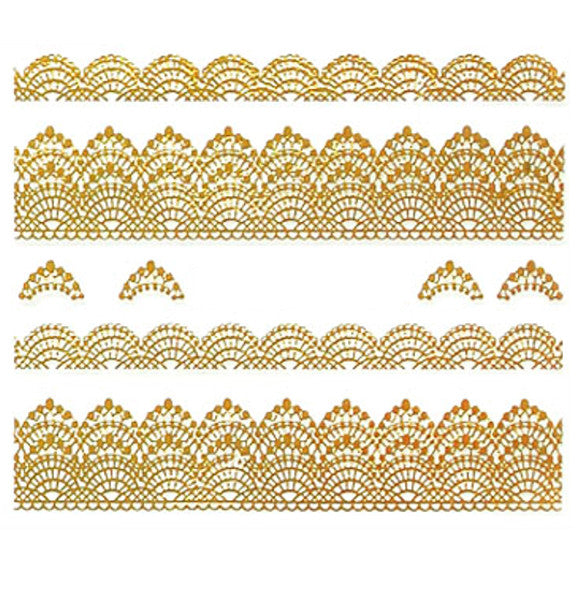 Nail Adhesive Sticker / Gold / D107