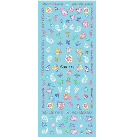 Paisley & Butterfly Nail Water Decals / DS-160