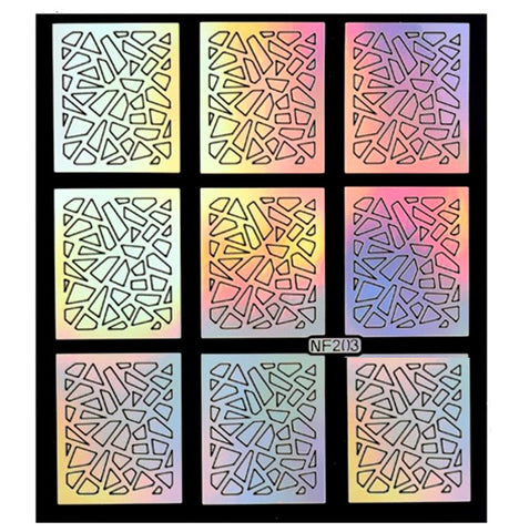 Nail Art Vinyl Stencil Guides / Glass / 203