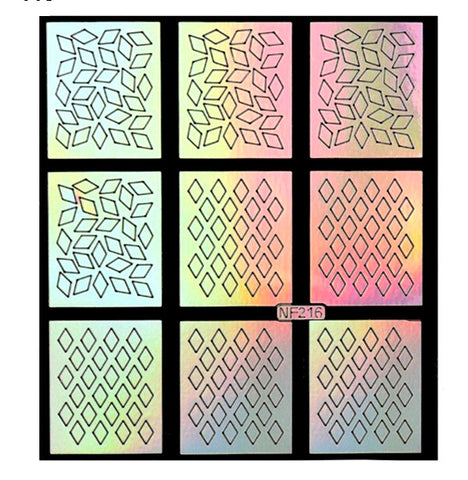 Nail Art Vinyl Stencil Guides / Diamond / 216