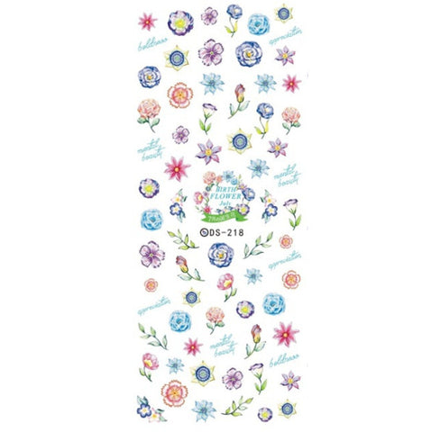 July Flower Garden Nail Water Decals / DS-218