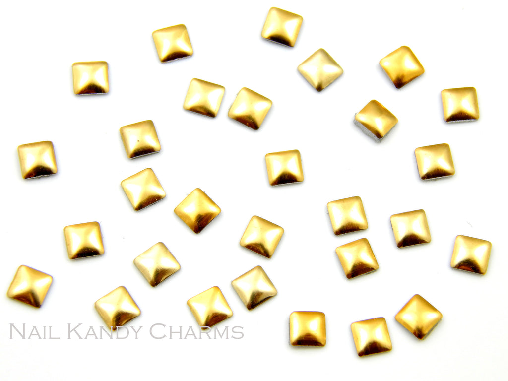 Square Studs 3mm / Gold - 100 pcs