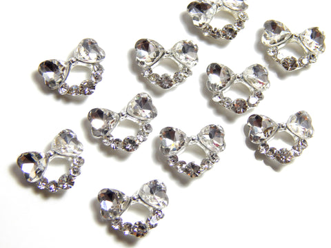 Double Heart Charm / Clear Crystal