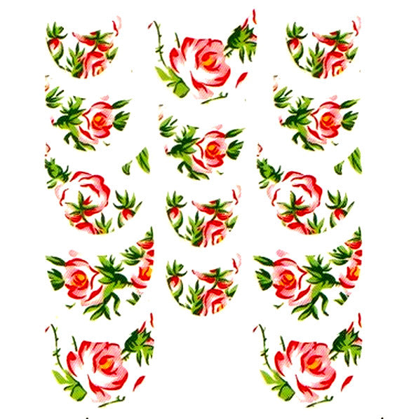 Floral French Tips Water Slide Decal / 060