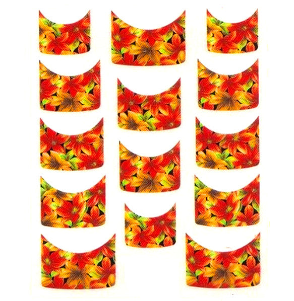 Floral French Tips Water Slide Decal / 069