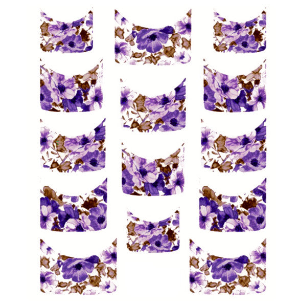 Floral French Tips Water Slide Decal / 073