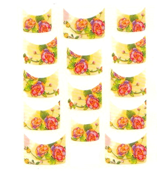 Floral French Tips Water Slide Decal / 076