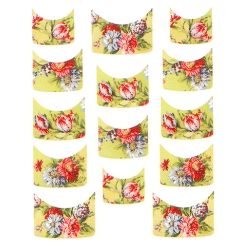 Floral French Tips Water Slide Decal / 077