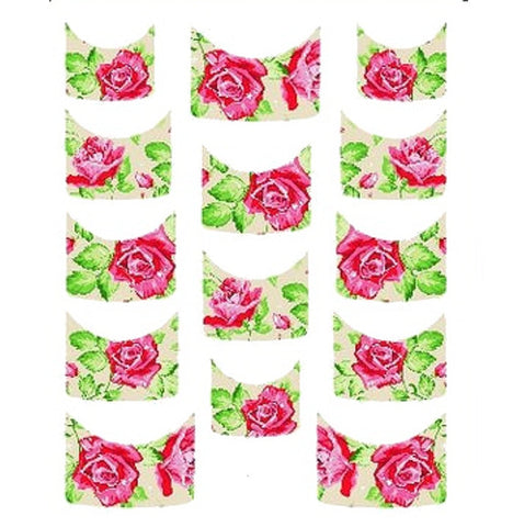 Floral French Tips Water Slide Decal / 134