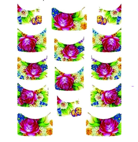 Floral French Tips Water Slide Decal / 135