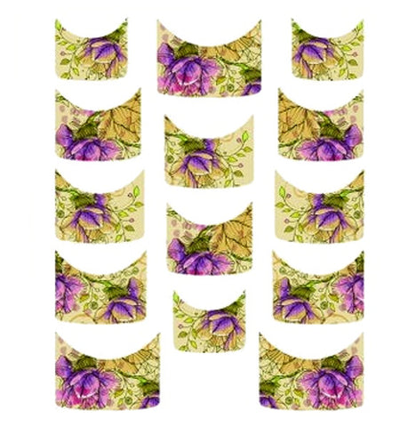 Floral French Tips Water Slide Decal / 139