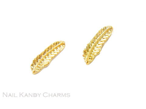 Feathers 3x11mm / Gold / 5 pcs
