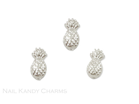 Pineapple Charms / Silver / 5pcs