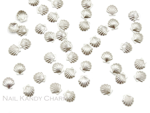 Seashell Studs 5mm / Silver / 20pcs