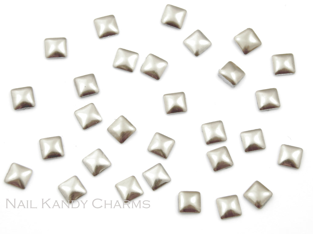 Square Studs 3mm / Silver - 100 pcs