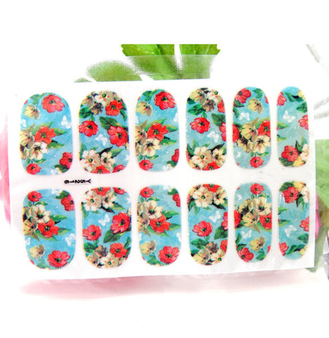 Tropical Flower Blue Adhesive Wraps / Y5216