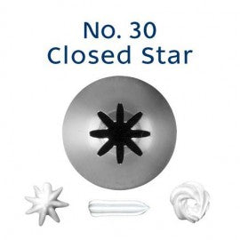 Stainless Steel Icing Nozzle - #30 Closed Star