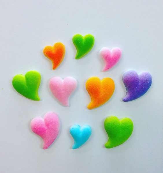 Pressed Sugar Toppers - Hearts Set of 12 assorted
