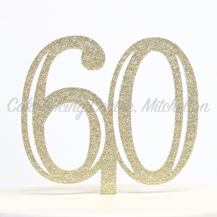 Number Cake Topper - Gold Flecked Double Digit