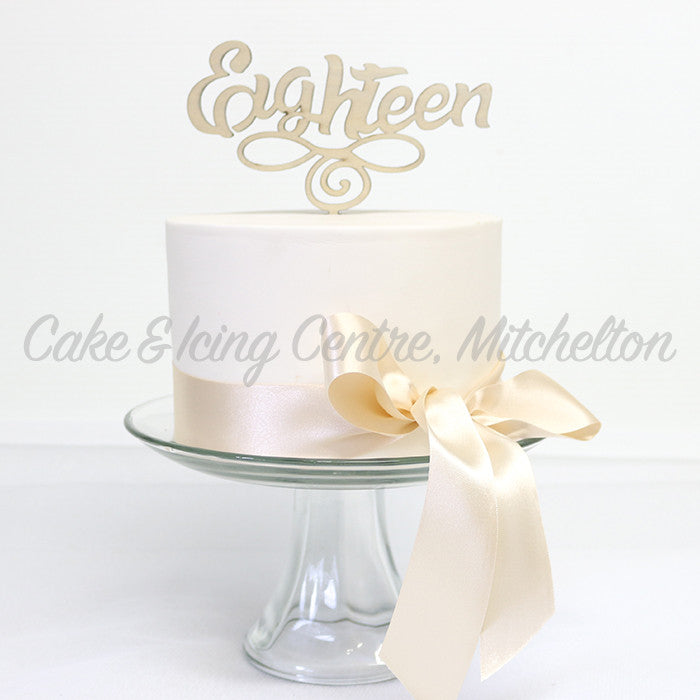 Cake Topper Wooden - Eighteen