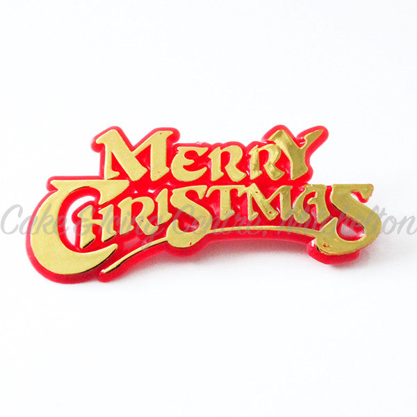 Merry Christmas Cake Topper - Red & Gold