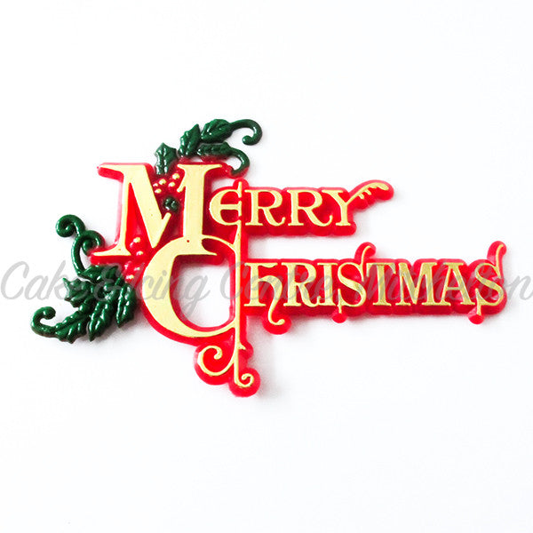 Merry Christmas Cake Topper with Greenery